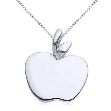 Apple Pendant Necklace solid apple pendant necklace in plain metal 14k white gold