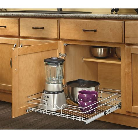 Pull Out Shelving For Kitchen Cabinets Shop Rev A Shelf 20 5 In W X 7 In H Metal 1 Tier Pull Out Cabinet Basket At Lowes