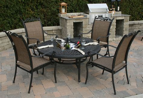 steel or aluminum patio furniture all welded aluminum sling patio furniture is a maintenance free alternative to cushioned