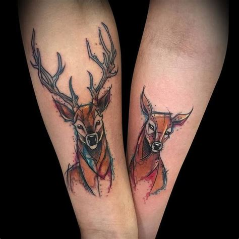 deer couple tattoos best 20 deer ideas on deer drawing