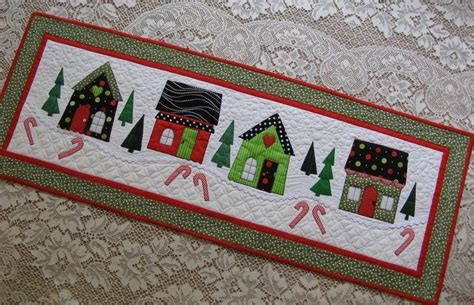 pattern christmas table runner christmas houses table runner by 2strings craftsy