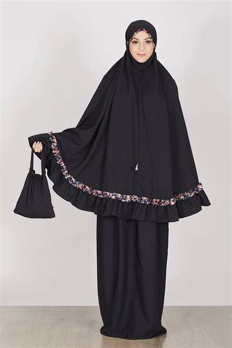Plain Mukena by Sell Tatuis X Hijabenka Plain Prickly Navy Mukena