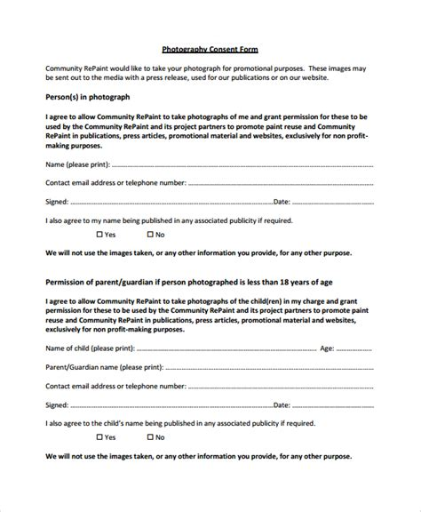 photography permission form template sle photography consent form 9 free documents