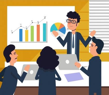 team work background people meeting chart colored cartoon