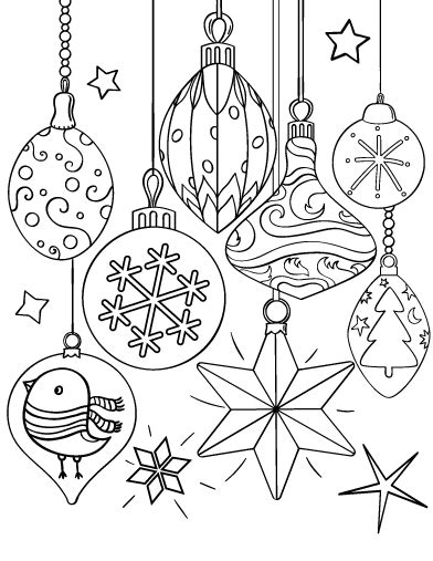 printable christmas ornament coloring page free pdf