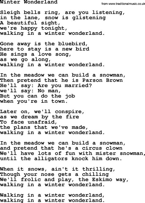 printable lyrics for walking in a winter wonderland catholic hymns song winter wonderland lyrics and pdf