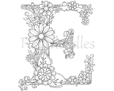 E T Coloring Pages by Coloring Page Floral Letters Alphabet A