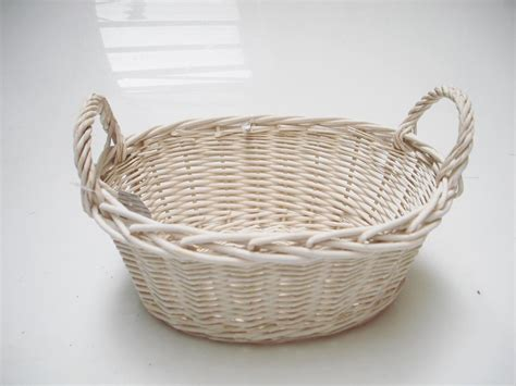 wicker basket bathroom oval white french shabby chic wicker kitchen crafts