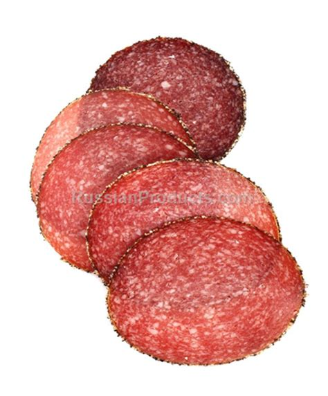 russian products – pepper bear salami, food, meat products