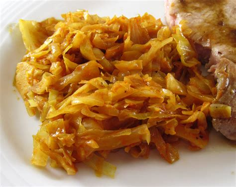 cabbage braised with onions in the kitchen with kath