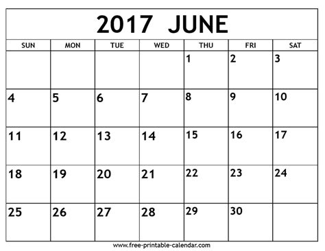 Calendar June June 2017 Calendar Printable Template Holidays Pdf