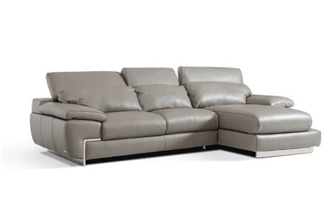 gray leather sectional sofas molino modern grey leather sectional sofa