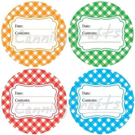 gingham canning jar labels round stickers for fruit and