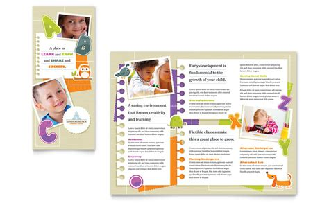 kindergarten tri fold brochure template word publisher