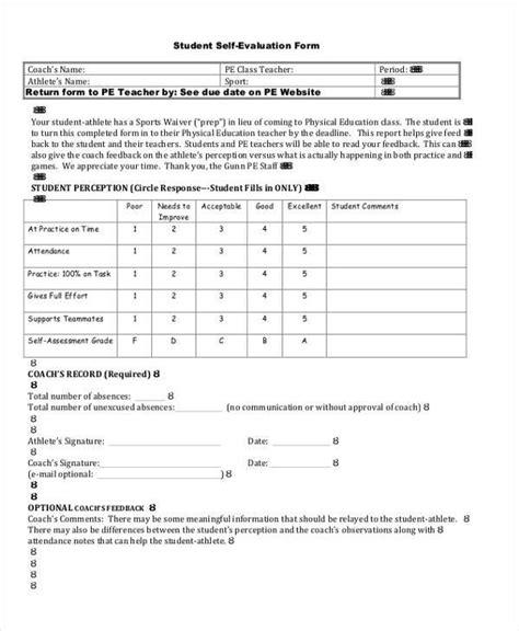 sle evaluation form student self evaluation form teacheng us