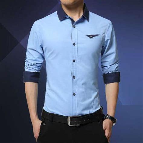 Kemeja Panjang Pria Cristiano jual pria biru lengan panjang model kemeja fashion cowok terbaru di lapak kemeja pria toko