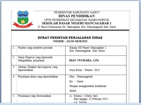 Contoh Surat Perintah Perjalanan Dinas Sppd by Contoh Surat Perintah Perjalanan Dinas Sppd