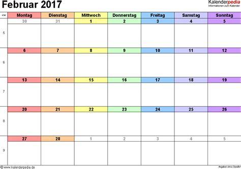 Kalender 2017 Februar Kalender Februar 2017 Als Pdf Vorlagen