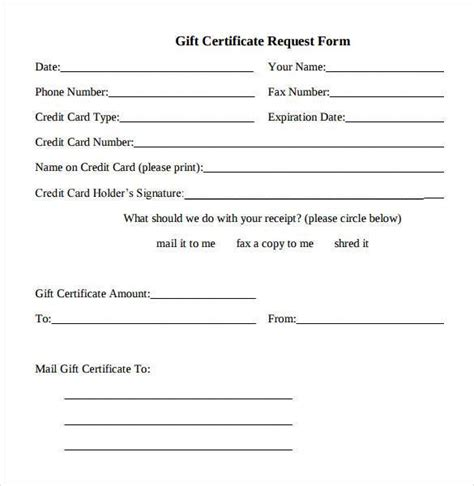 free gift card forms template gift certificate template 42 exles in pdf word in