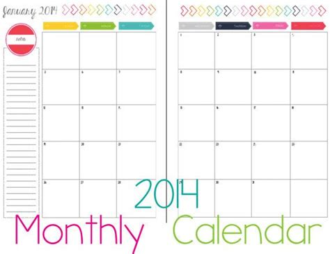 12 month printable calendar2014portrait 2 page by