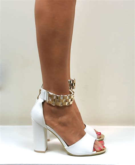 Fladeo Heels Gold No 39 womens strappy sandals block heel gold metal cuff