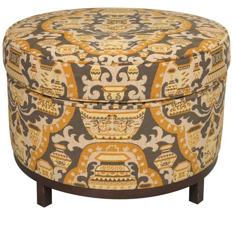 Large Round Tapestry Upholstered Ottoman Stool At 1stdibs