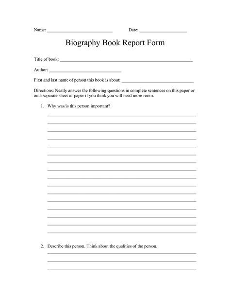 biography book report form for 5th grade best photos of biography report template printable 4th