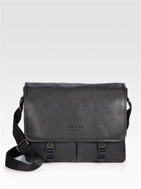 Prada Pebbled Leather Weekend Bag by Lyst Prada Pebbled Leather Messenger Bag In Black For