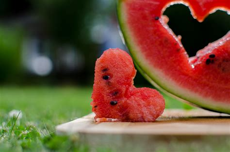 Photo Heart Watermelons Food