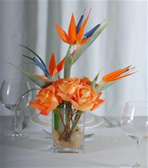 birds of paradise orange rose centerpiece onewed com