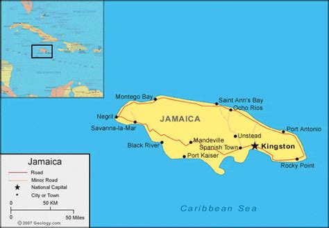 map world jamaica jamaica map and satellite image