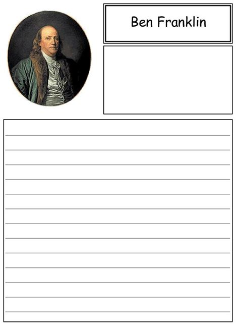 benjamin franklin biography for 4th graders ben franklin notebooking paper homeschool pinterest