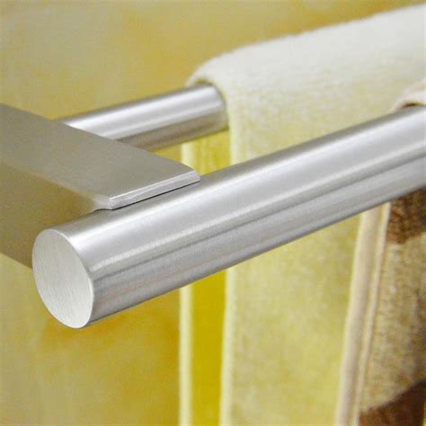 4 Piece Kitchen Faucet Sus 304 Stainless Steel Double Towel Bar Square Wall Shelf