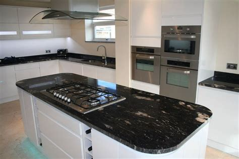 black marble bench tops cosmic black granite benchtops with white cupboard fronts