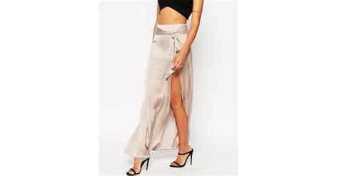 asos maxi skirt with thigh split and obi tie belt in khaki