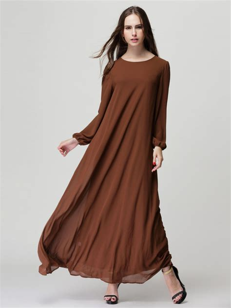 Maxi Dress Brown With Belt brown sleeve shift maxi dress with belt choies