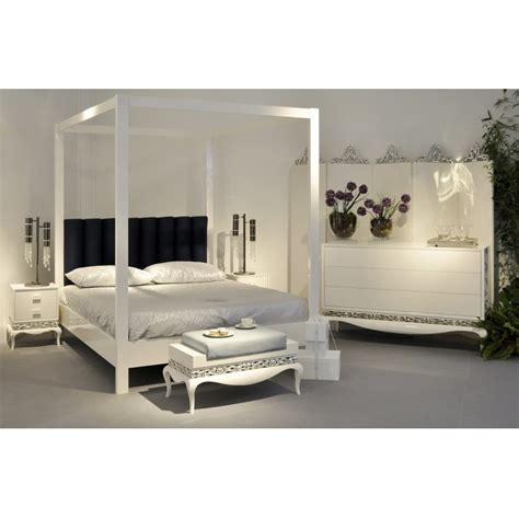 white four poster bed grand glossy white four poster bed with black velvet headboard