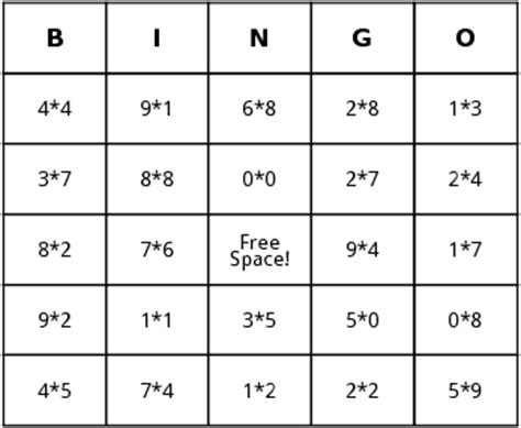 math bingo card template math bingo printable math bingo printable