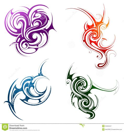 element tattoo designs design elements water grass wind stock vector