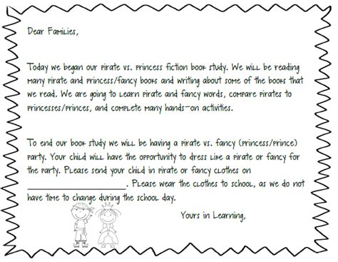 Parent Letter From About Unit pirate vs princess a fiction book study unit plus a