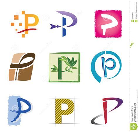 G O Y A conjunto de iconos y de la letra p de los elementos de la insignia foto de archivo imagen