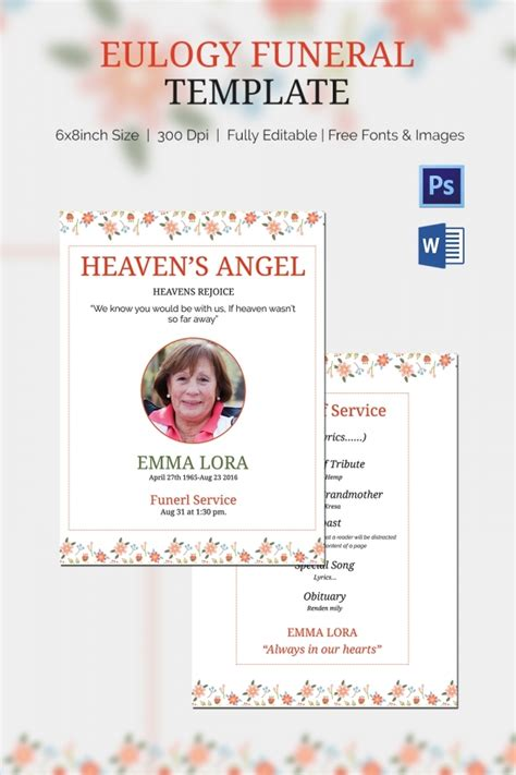 Eulogy Funeral Template 5 Word Psd Format Download Free Premium Templates Eulogy Template