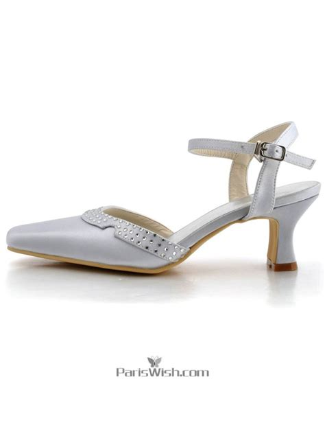 Silver Satin Wedding Shoes by Square Toe Satin Silver Low Heel Comfortable Wedding Shoes