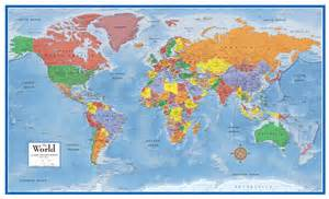 World Wall Maps by World Map Classic Huge Large Laminated Wall Map 48x78