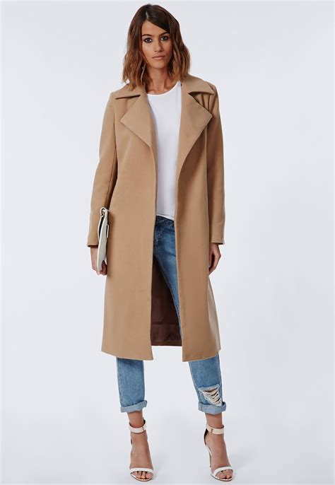 Coat Premium khloe premium waterfall coat camel coats jackets missguided