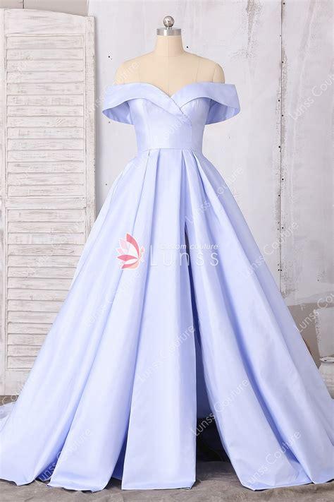 lavender  shoulder high slit long prom dress lunss