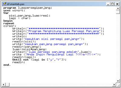 cara membuat flowchart luas segitiga cara membuat program menghitung luas persegi panjang