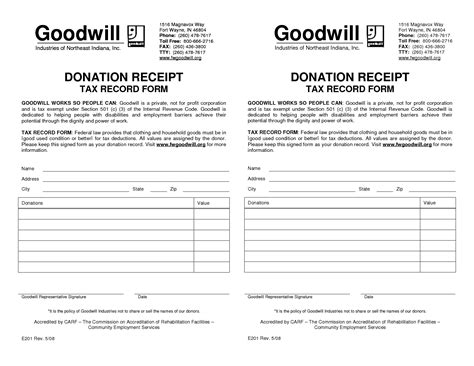 goodwill charitable donation receipt template best photos of blank donation receipt template goodwill