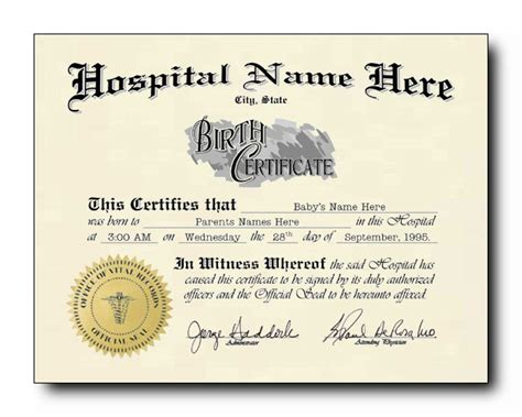 blank birth certificate template sle for new born baby