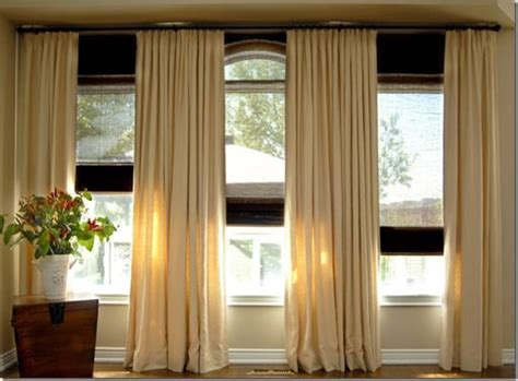 three window curtains triple window curtain placement kami living room pinterest
